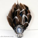 Handmade Large Feather Cameo Hair Comb