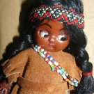 Vintage Hongkong Made Indian Hard Plastic Girl Doll 6""