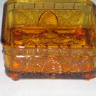 Vintage Indiana Glass Tiara Amber Honey Beehive Footed Candy Dish No Lid