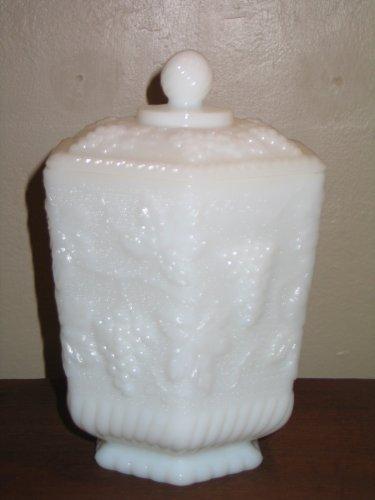 Vintage Anchor Hocking Fire King Milk Glass Large Biscuit Jar Grape and Vine Design