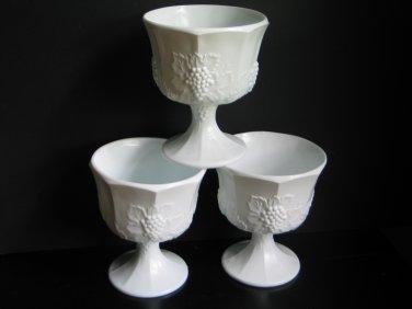 Vintage Indiana Glass Milk Glass Lot of 3 Colony Harvest Grape Paneled Planters Wedding Decor
