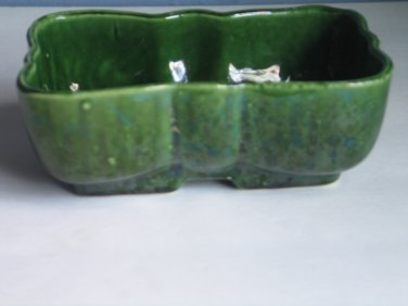 Vintage UPCO Ungemach Pottery Planter Green Drip Bow Tie Shape