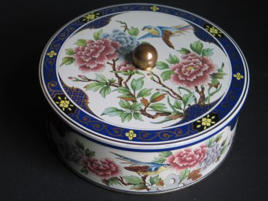 Vintage Pair Daher Decorated Ware Tins Vanity Powder Tins Made in England