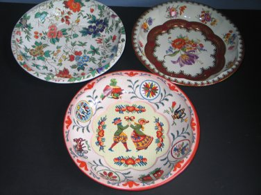 Vintage Daher Decorated Ware Tins Lot of 3 Decorative Bowls Made in England Folk Art and Flowers