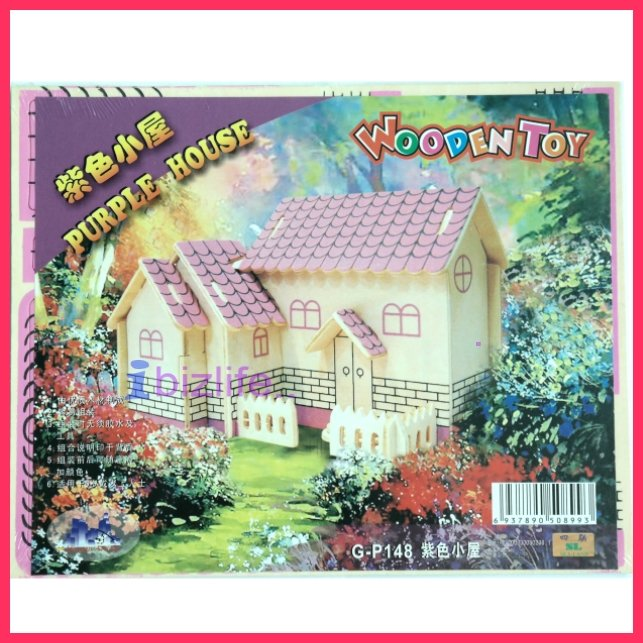Wooden Purple house - 3D puzzle jigsaw DIY craft model for student gift