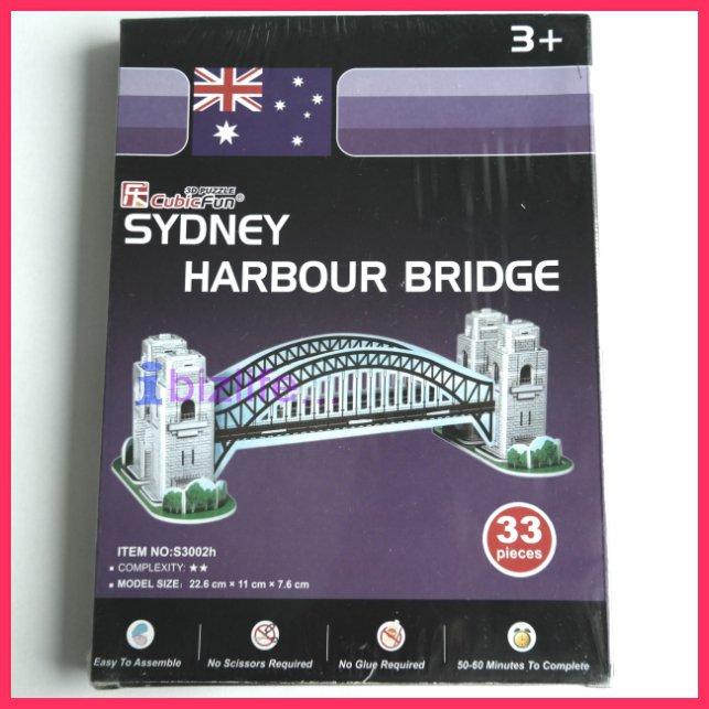 CubicFun - Syndey Harbour Bridge PAPER 3D puzzle DIY jigsaw model for edu kid gift (33 pcs)