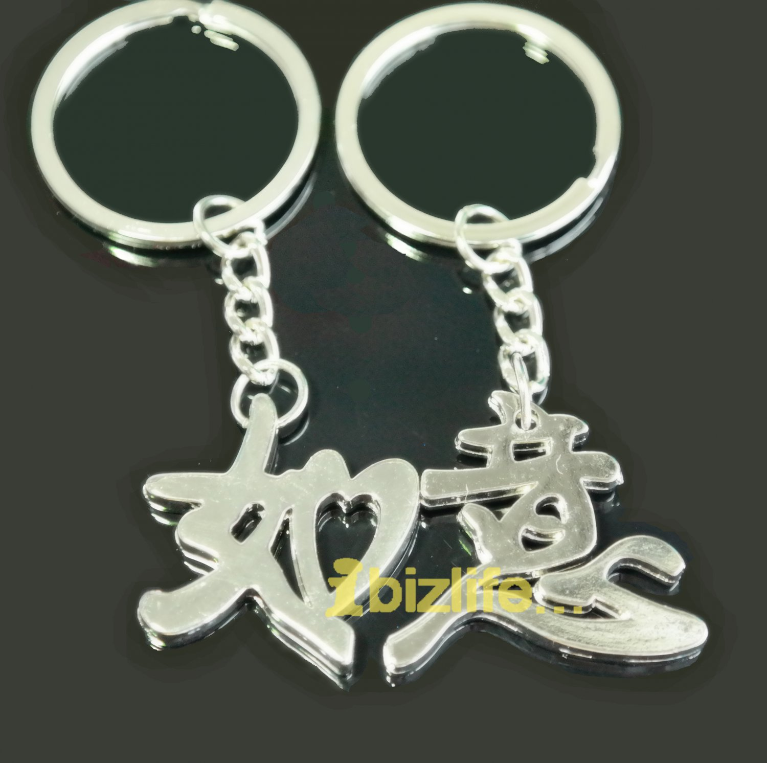 Magnetic Metal keychain with a pair of Blessing Chinese letters to LOVES, Friends Nice-as-Will gift