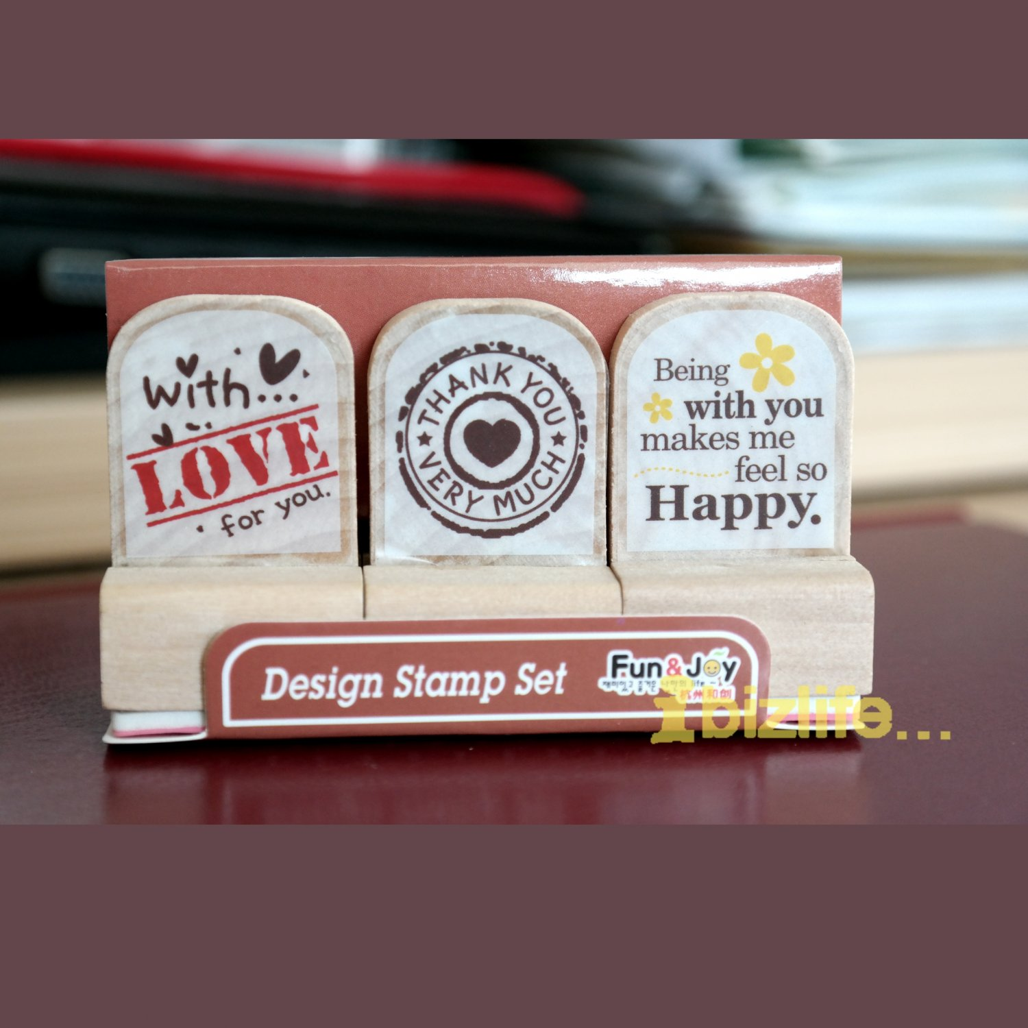 Set of 3 Rubber Stamp in Wooden Block-Happy Day Life(WS02)