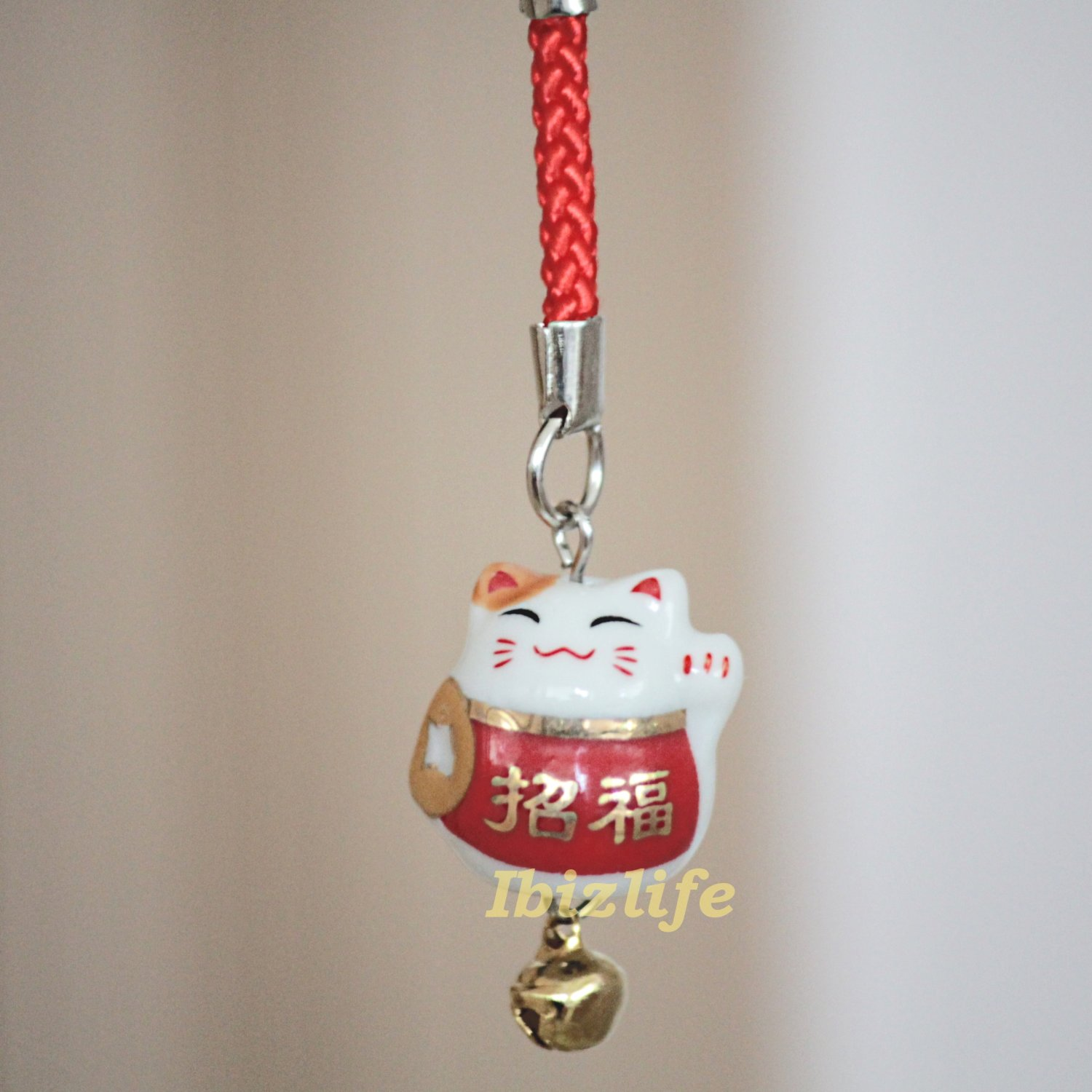 Blessing Lucky BELL CHARM- (Maneki Neko) with Chinese Blessing words LUCKY (bbc05)