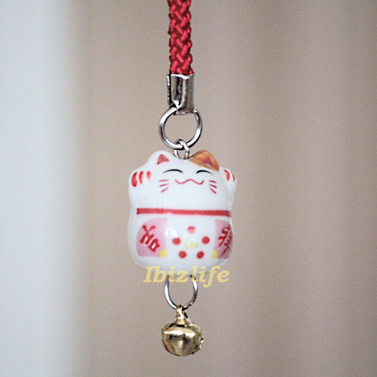 Blessing Lucky BELL CHARM- (Maneki Neko) with Chinese Blessing words FORTUNE (bbc10)