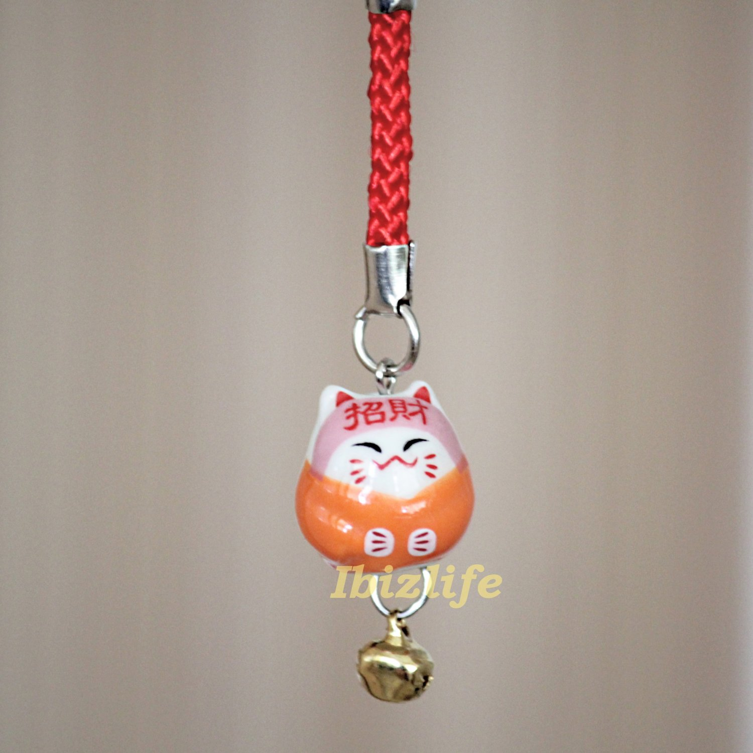 Blessing Lucky BELL CHARM- (Maneki Neko) with Chinese Blessing words WEALTH (bbc11)