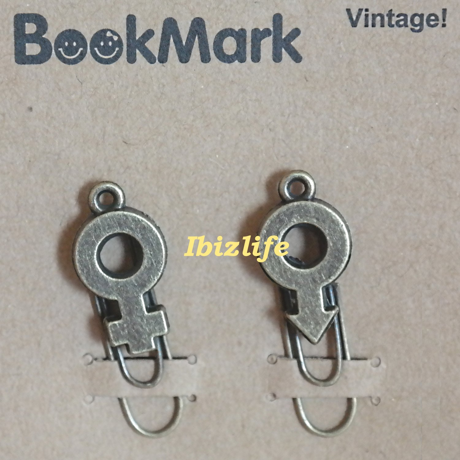 A pair of metal clip with brown color bookmark:male and female symbol (bm03)