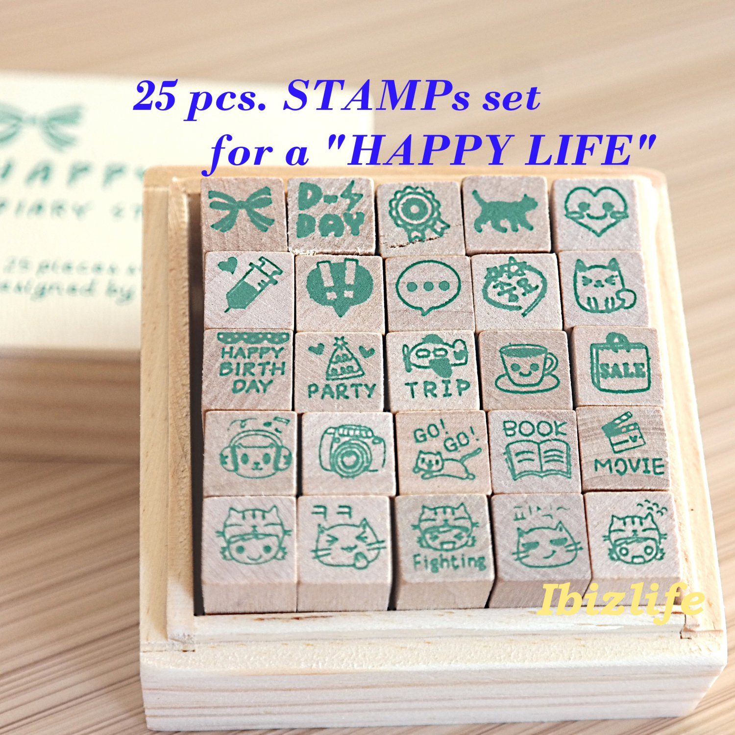 25-pcs stamps sets in a wooden box for a happy life (WS06)