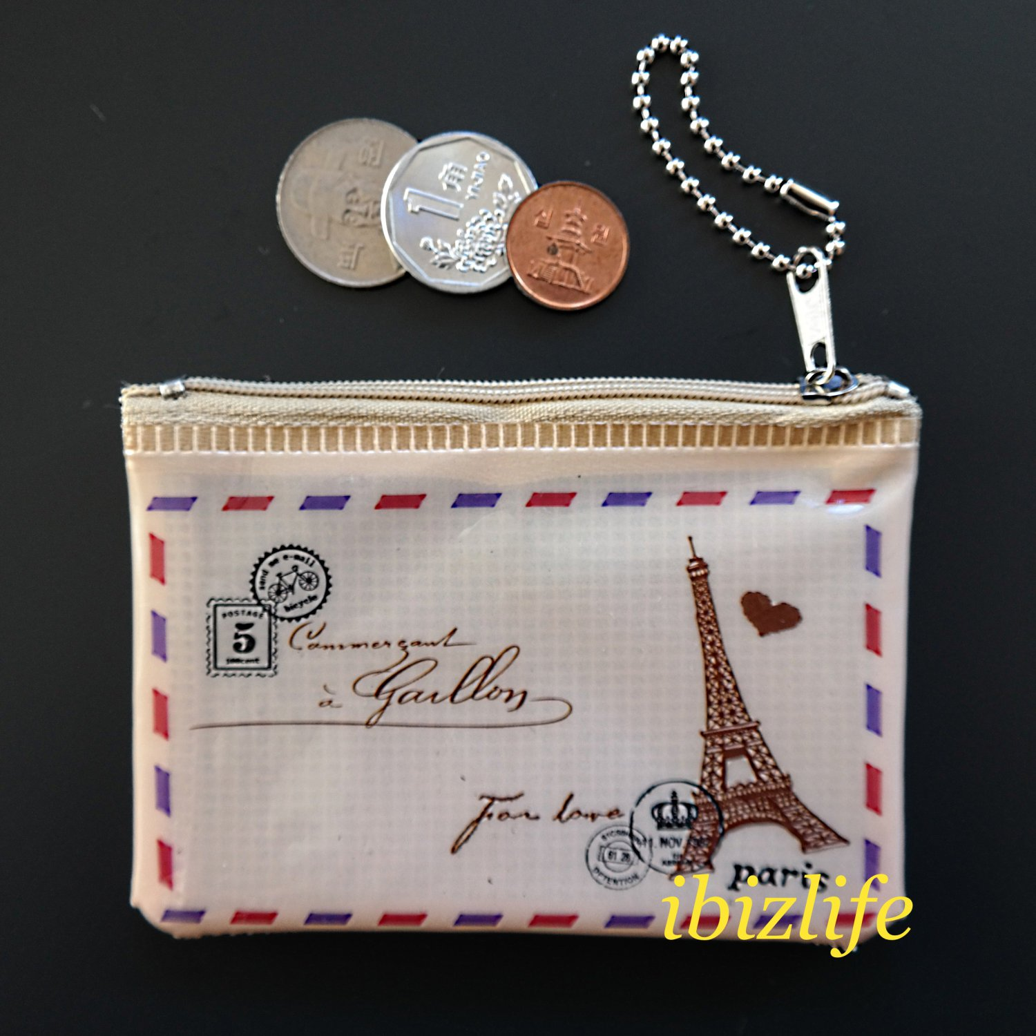 Fashion pocket for coins or cards with Paris Eiffel Tower printing(FP04)