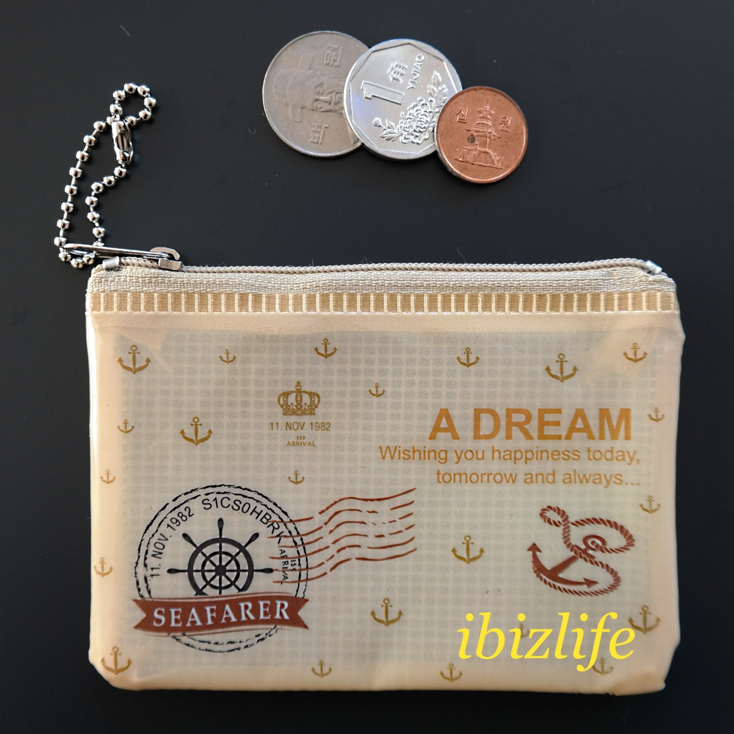 Fashion pocket for coins or cards with anchor and steering wheel printing(FP05)