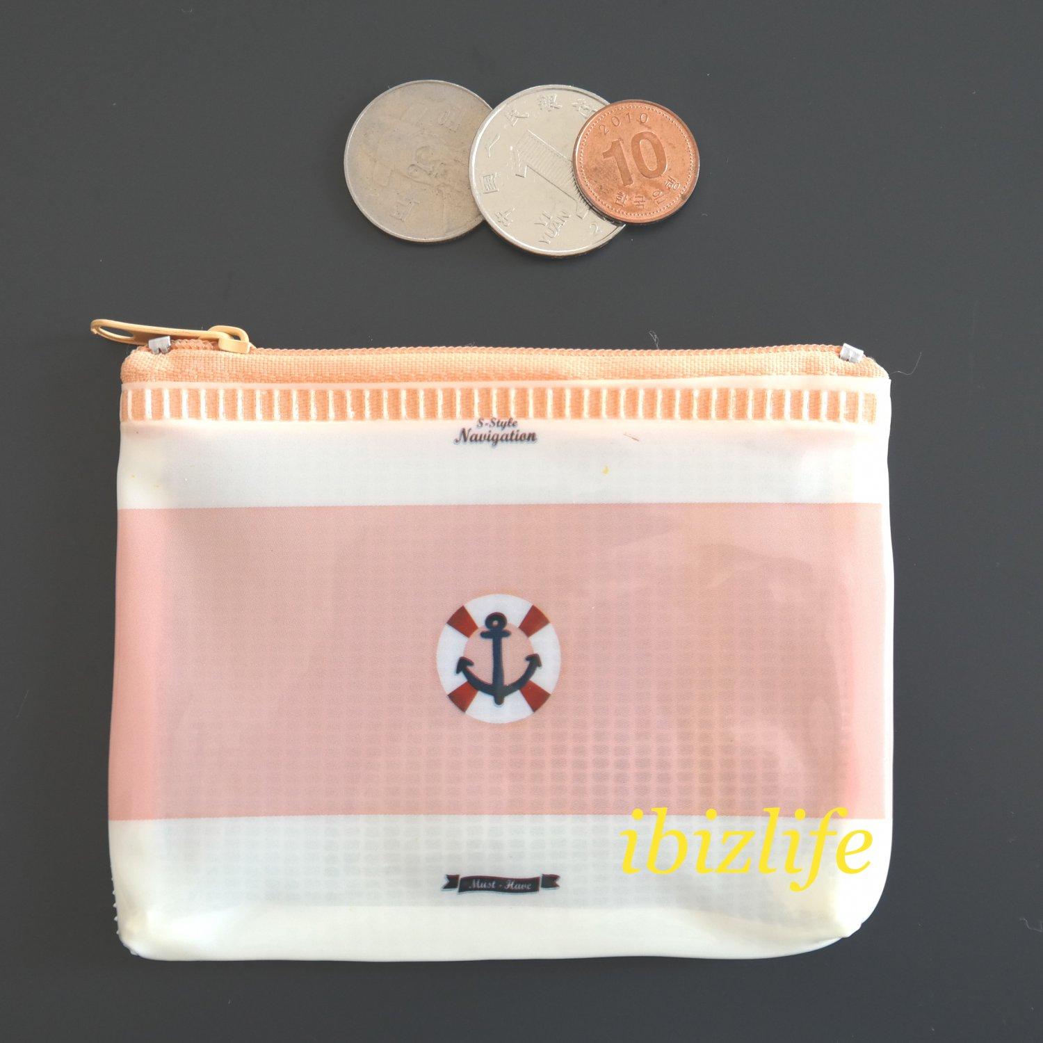 Fashion pocket for coins or cards with Boat Anchor printing(FP09)