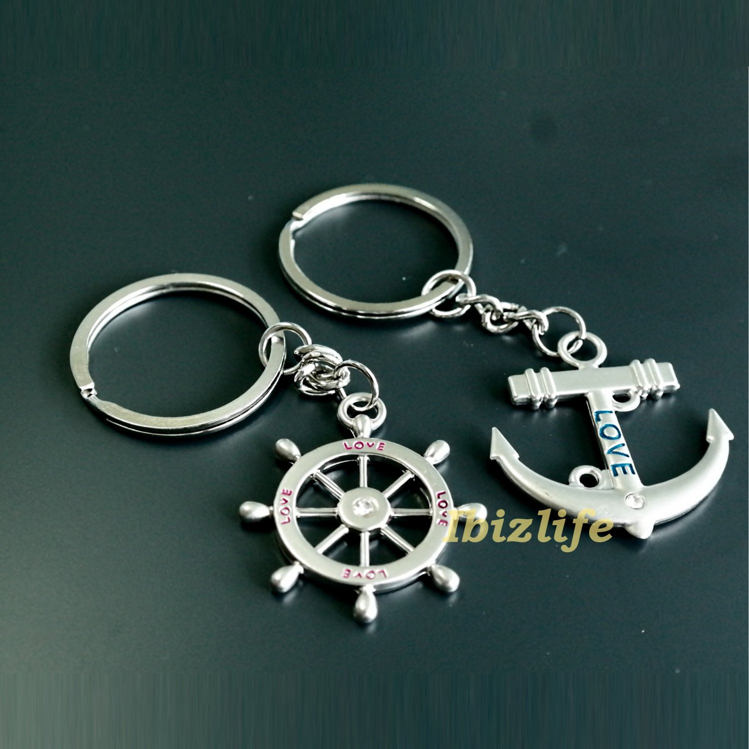 Metal keychain - Archor and Steering wheel for a LOVE BOAT (kc06)