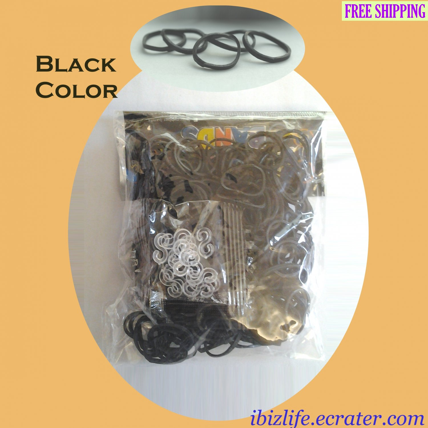 RAINBOW LOOM RUBBER BAND REFILL with 600 bands (Black color) & 24 Clips (RL15)