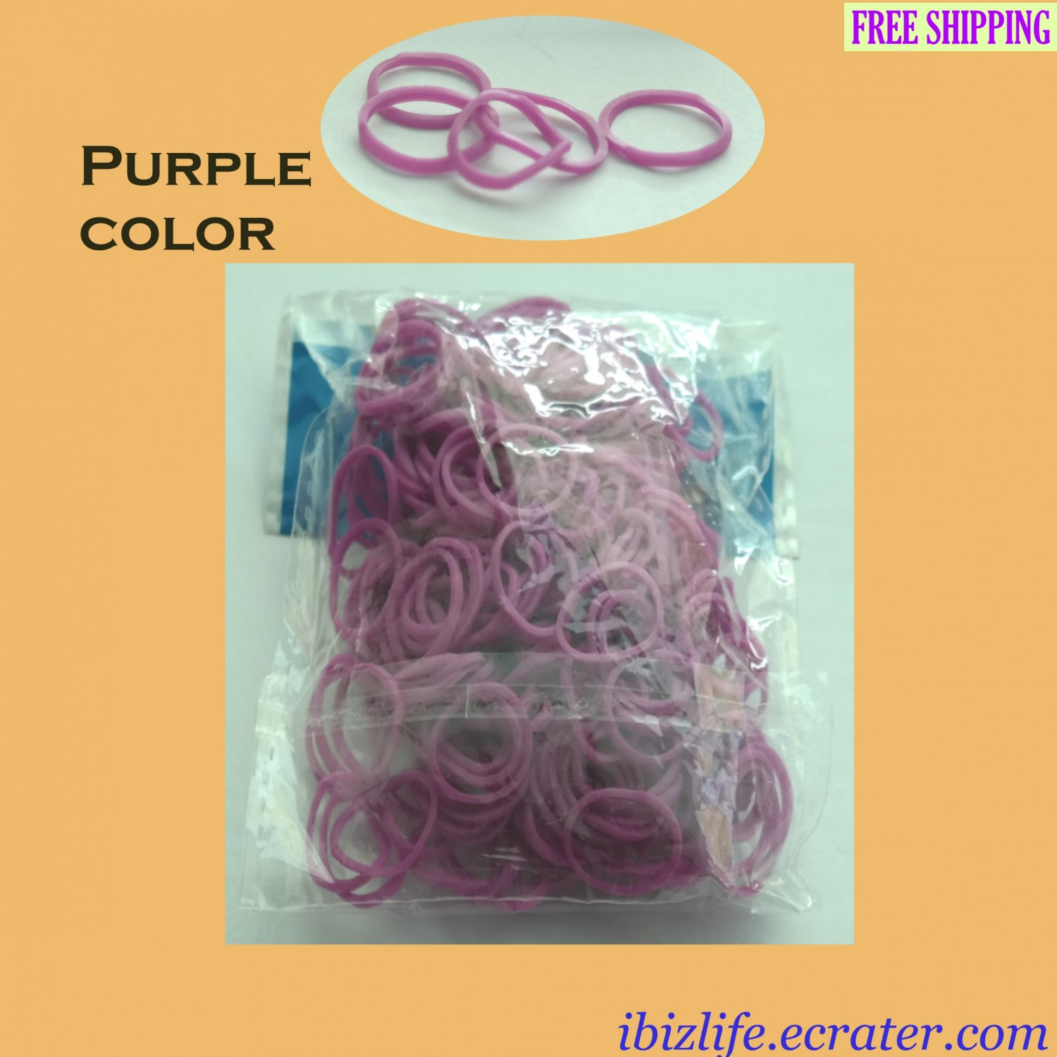 RAINBOW LOOM RUBBER BAND REFILL with 600 bands (Purple color) & 24 Clips (RL17)