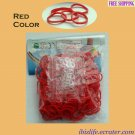 RAINBOW LOOM RUBBER BAND REFILL with 600 bands (Red color) & 24 Clips (RL18)