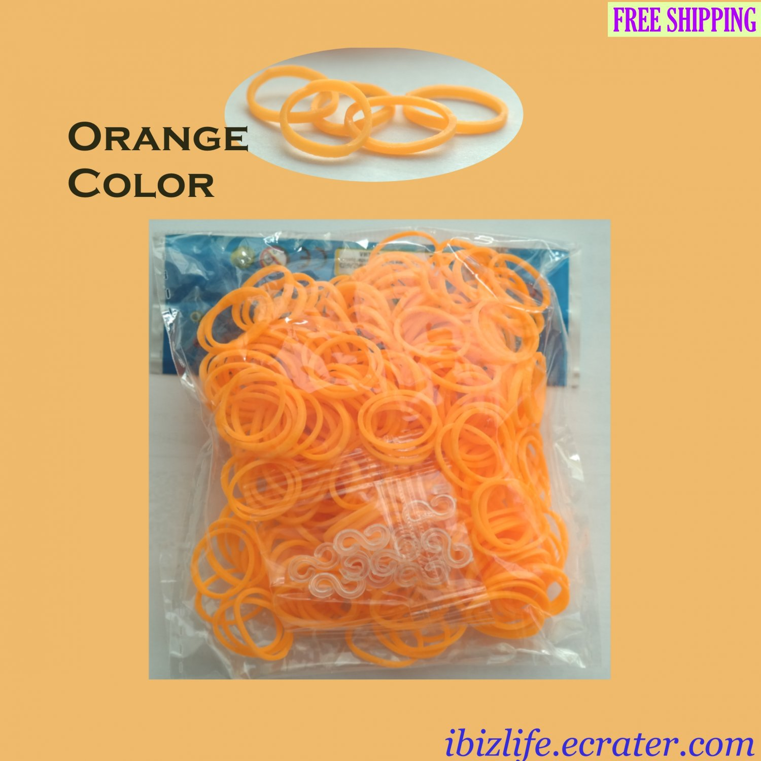 RAINBOW LOOM RUBBER BAND REFILL with 600 bands (Orange color) & 24 Clips (RL20)