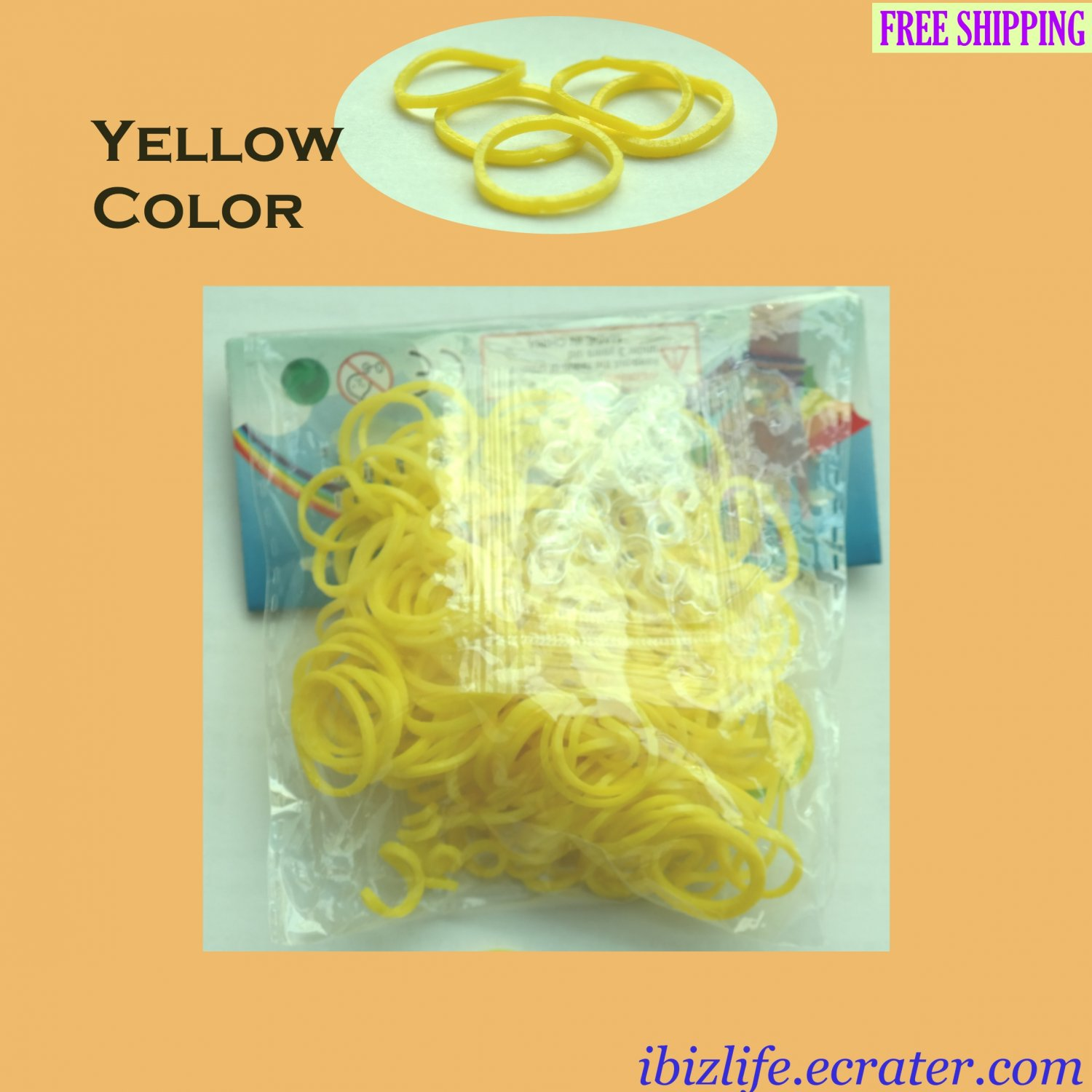 RAINBOW LOOM RUBBER BAND REFILL with 600 bands (Yellow color) & 24 Clips (RL21)
