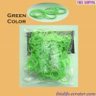 RAINBOW LOOM RUBBER BAND REFILL with 600 bands (Green color) & 24 Clips (RL22)