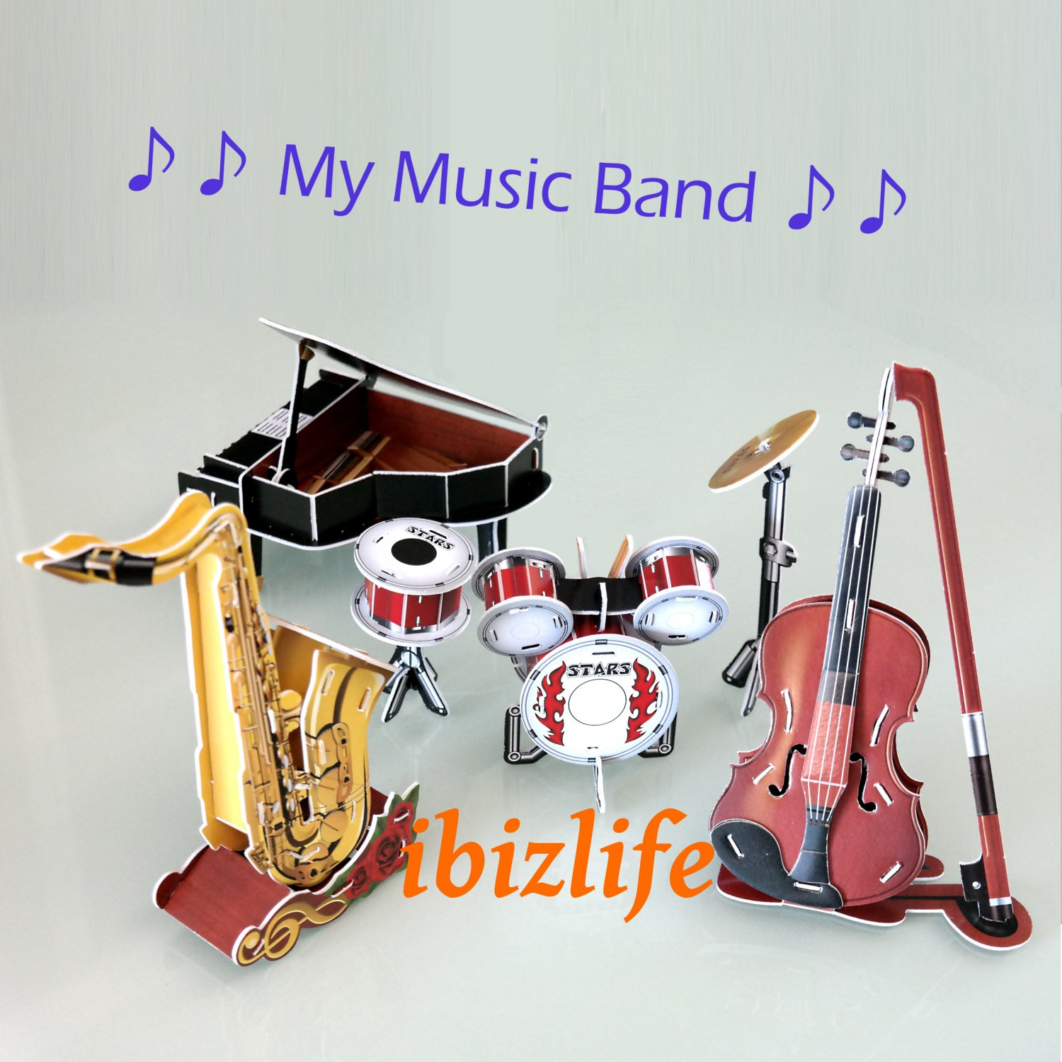 3D PUZZLE DIY jigsaw model Music Band set as gift - 4 Piano-Violin-Drum-saxaphone (PC40)