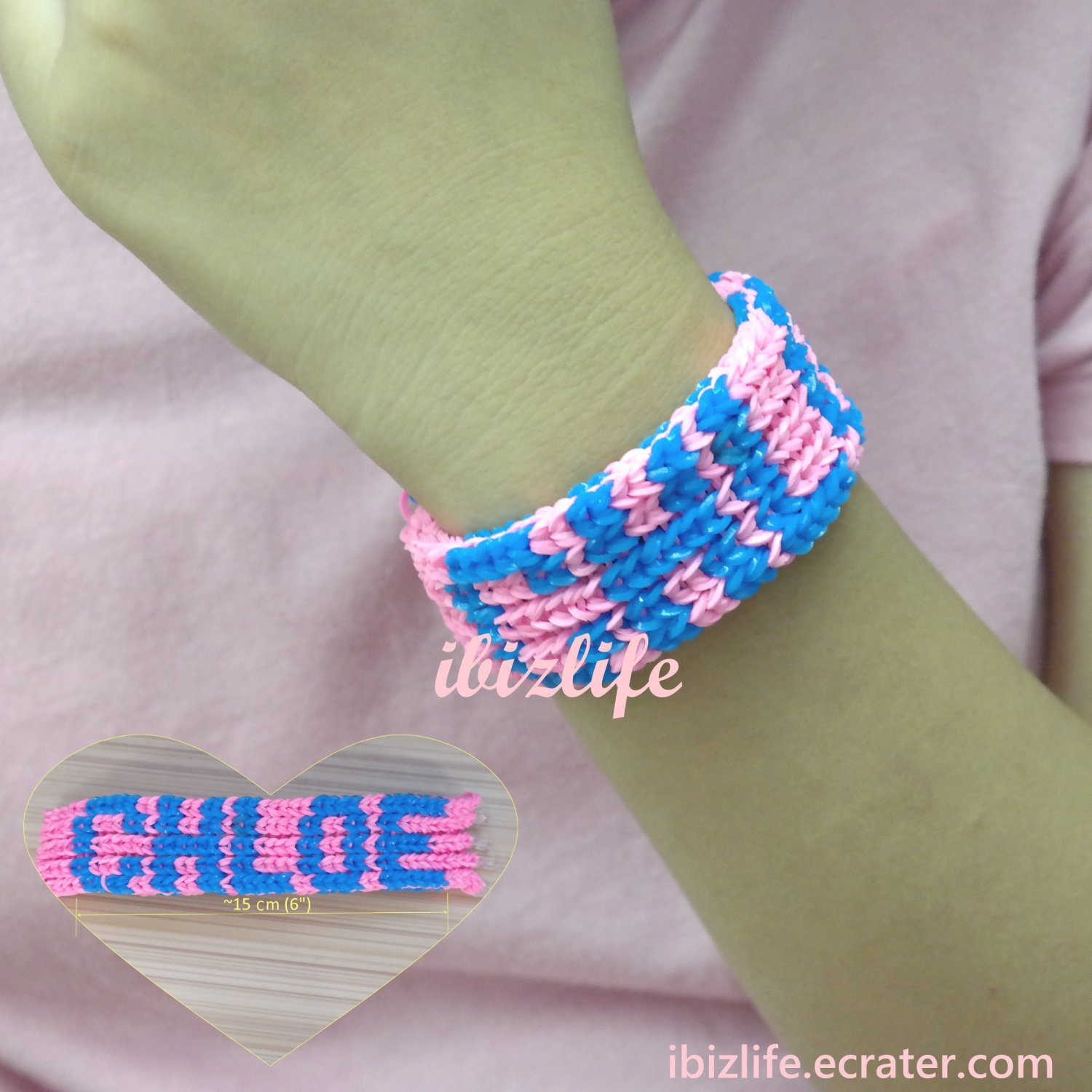 Handmade 2-color named rainbow loom bracelet (RL24)