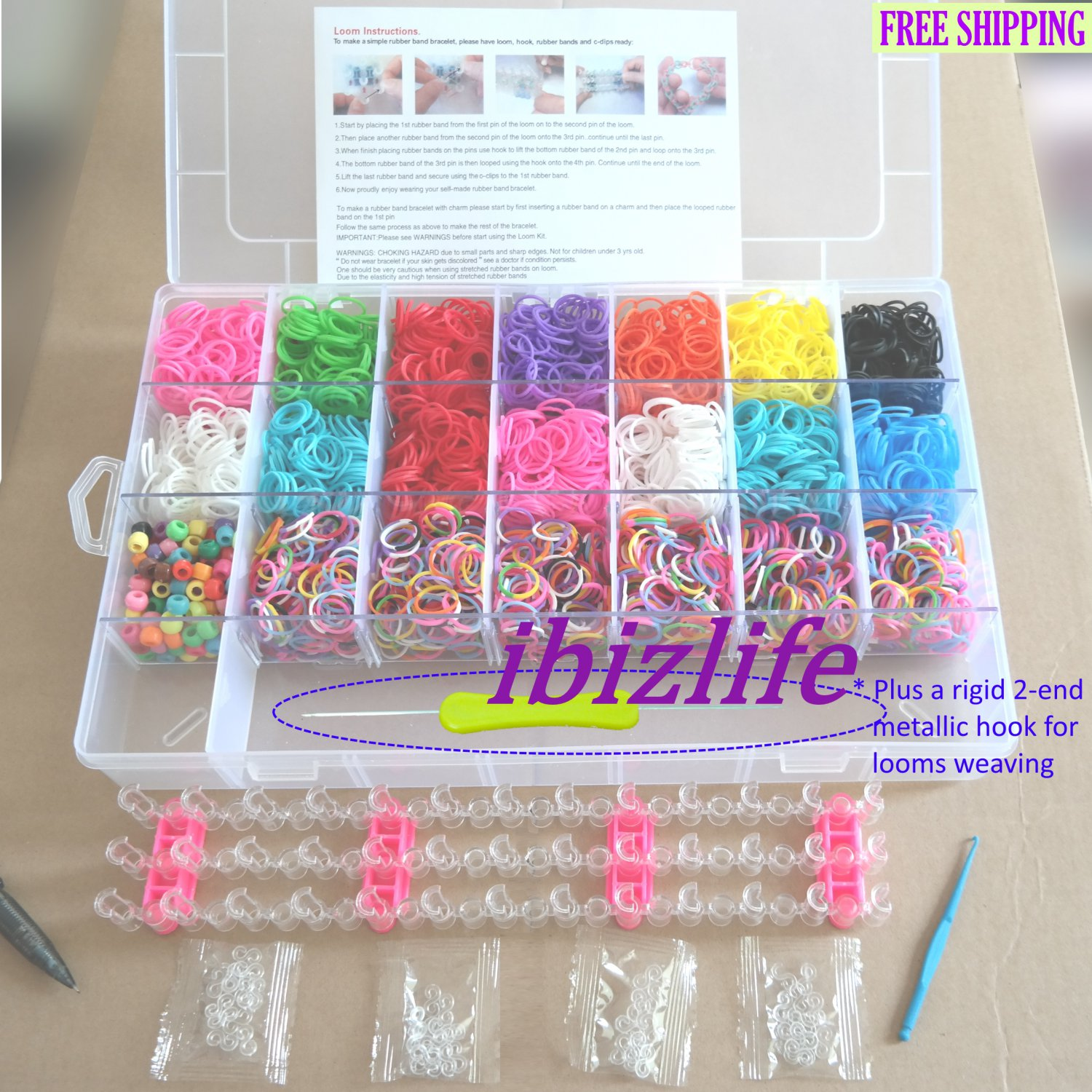 Complete kit rainbow loom clear box set include 4200 bands,48 clips for DIY bracelet(RL10)