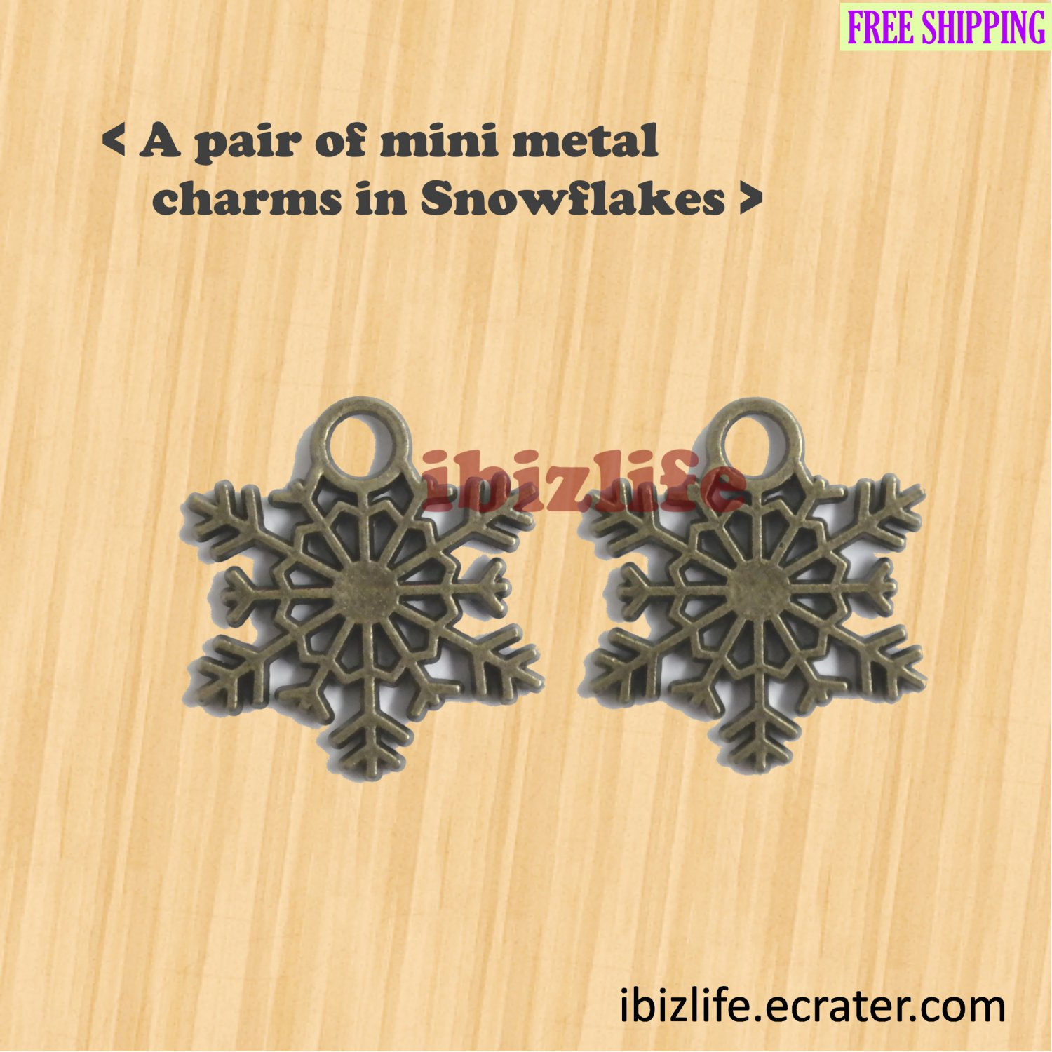 A pair of metal charms with brown color beautiful SNOWFLAKE shape for Winter (bc10)