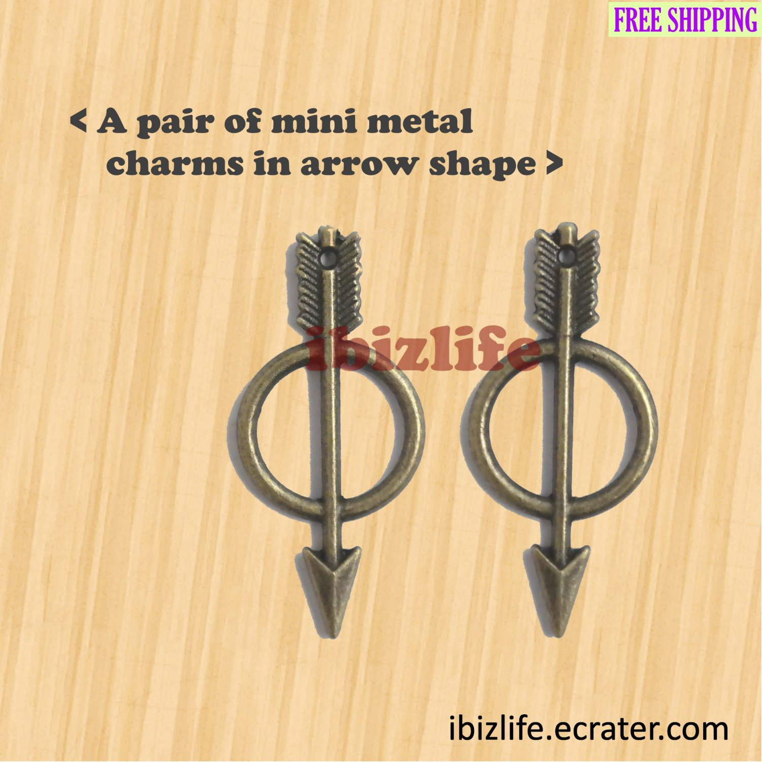 A pair of metal charms with brown color Arrows (bc13)