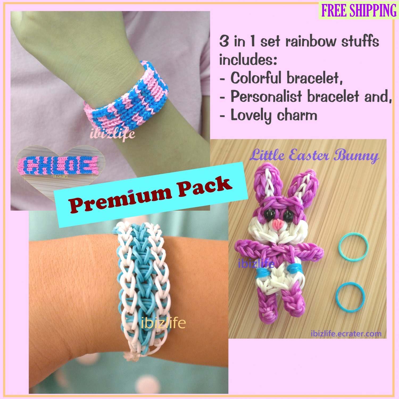 3 in 1 set Rainbow loom Handmade Lovely Carton Charm & 2 Bracelets (RL25)