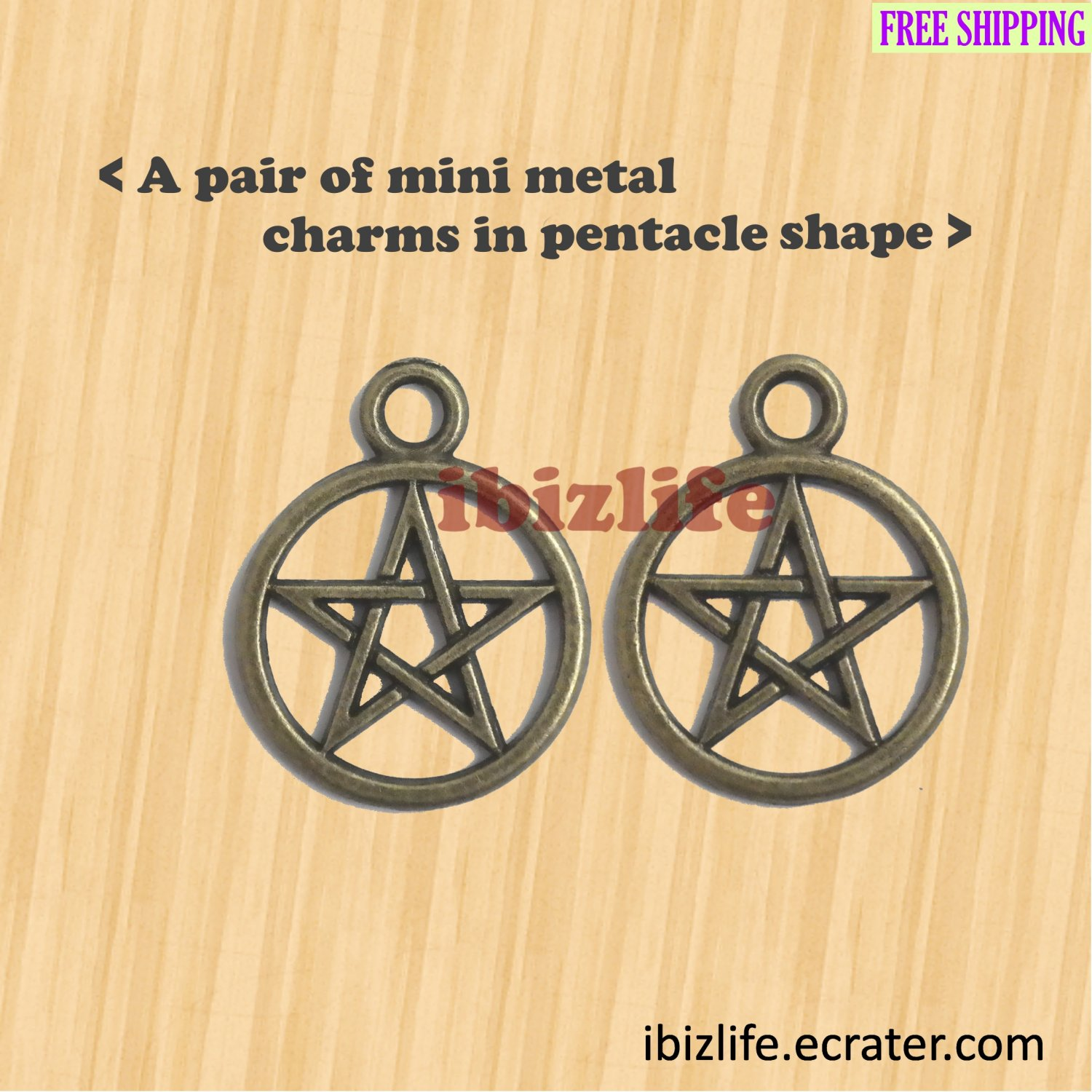 A pair of metal charms with brown color Pentacle shape (bc11)