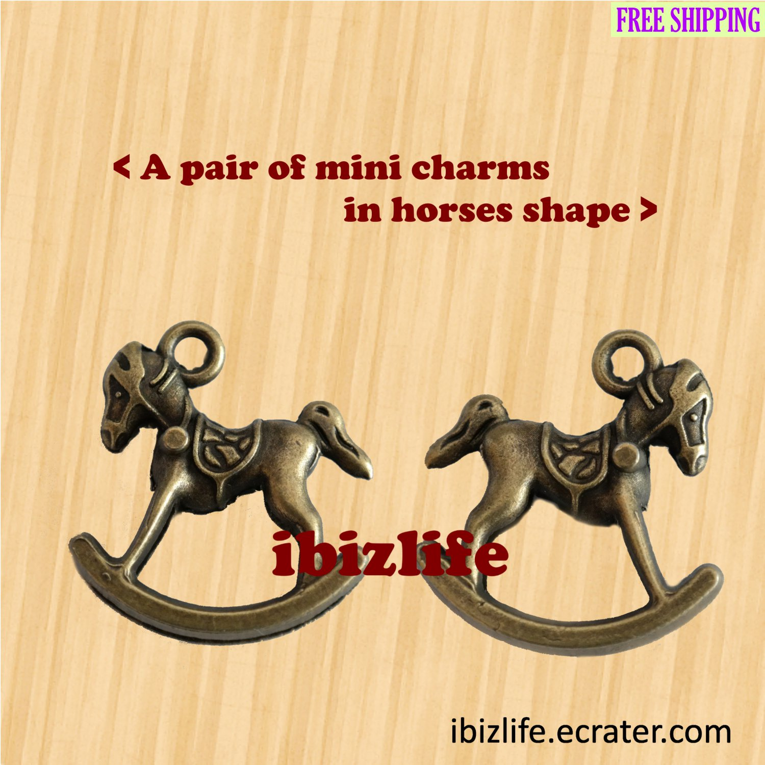 A pair of metal charms with bronze color in happy horse shapes (bc17)