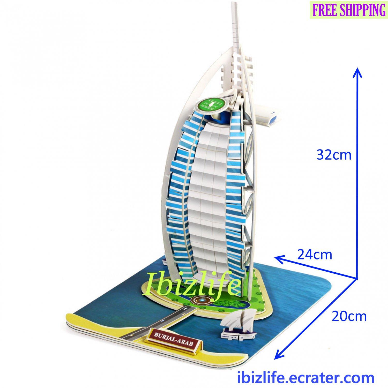 Burj Al Arab - Dubai 3D Puzzle 37 pcs DIY Jigsaw model as gift (pc48)