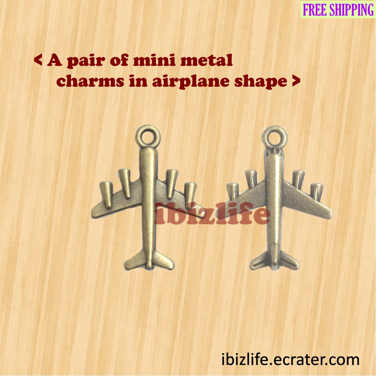 A pair of metal charms with brown color AIRPLANE shape to Fly to the endless Sky(bc09)