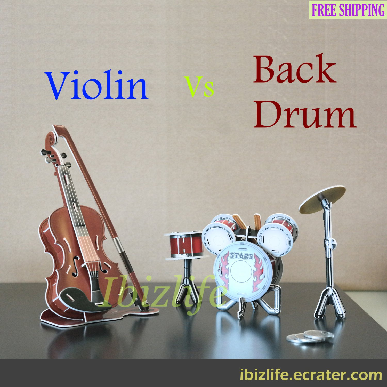 3D PUZZLE DIY jigsaw model Music Band set as gift - 2 Violin & Drum (PC66)