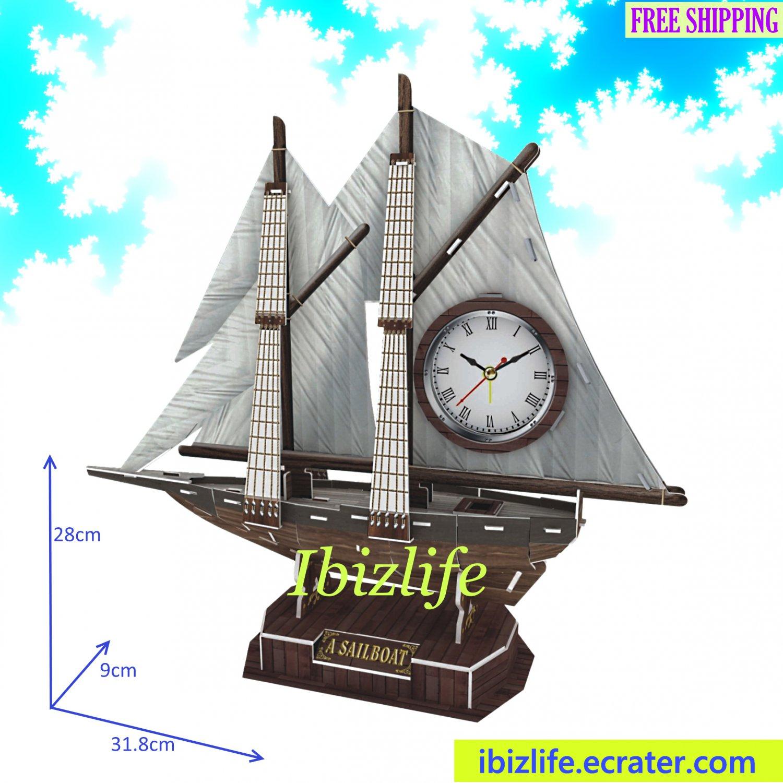 Exquisite Sailboat Desktop Table Clock in 3D puzzle 38 pcs DIY model as decoration/ gift item (pc69)