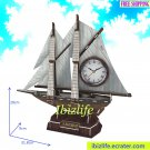 Exquisite Sailboat Desktop Table Clock in 3D puzzle 38 pcs DIY model as decoration/ gift item (pc69)