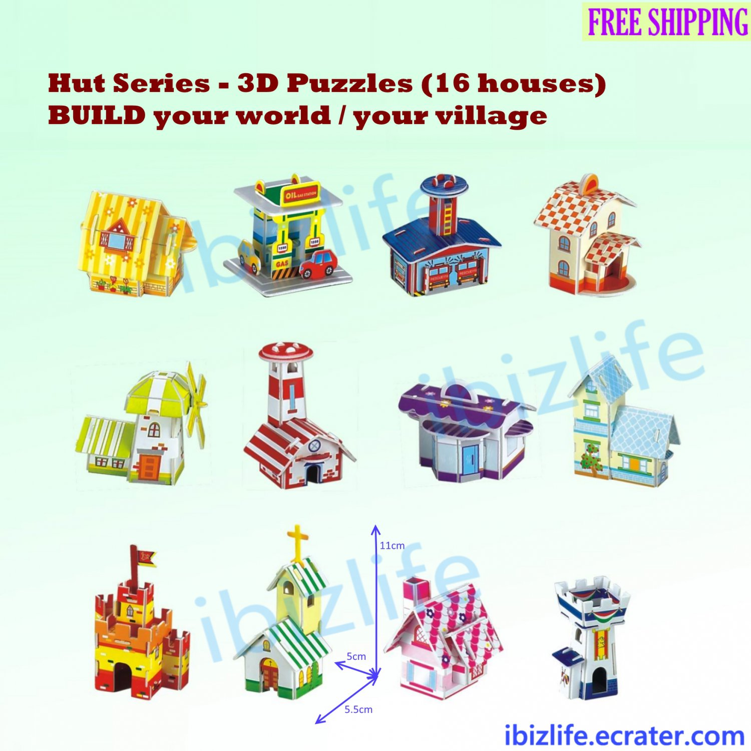 16 Huts with different functions to build up own City/ World - 3D Paper Puzzle pc78