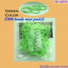 RAINBOW LOOM RUBBER BAND REFILL with 200 bands (Green color) & 12 Clips (RL45)
