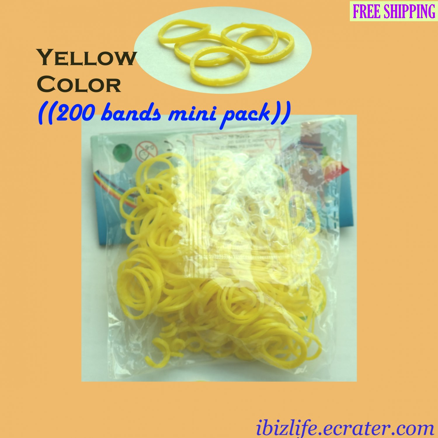 RAINBOW LOOM RUBBER BAND REFILL with 200 bands (Yellow color) & 12 Clips (RL44)