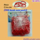 RAINBOW LOOM RUBBER BAND REFILL with 200 bands (Red color) & 12 Clips (RL41)