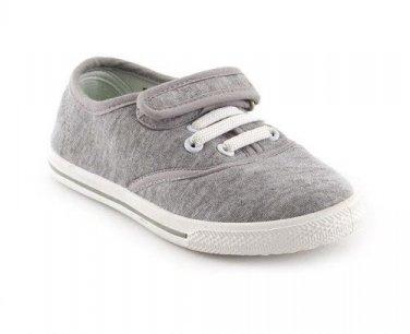 Infant Kids Girls Boys Casual Plimsolls Velcro Grey Pumps Shoes Size 8