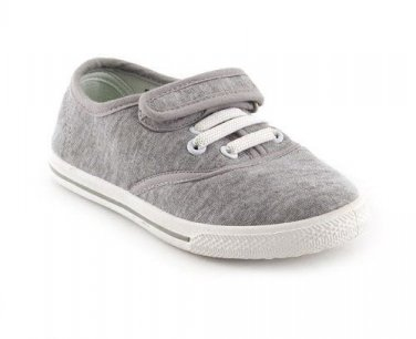 Infant Kids Girls Boys Casual Plimsolls Velcro Grey Pumps Shoes Size 9