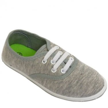 Kids Boys Girls Lace-Up Elasticated Grey Canvas Pumps UK Infant Size 11