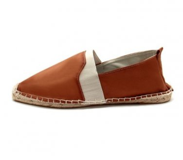 Mens Boys Tan Leather Look Espadrilles Pumps Flat Casual Slip-On Shoe Size UK 9