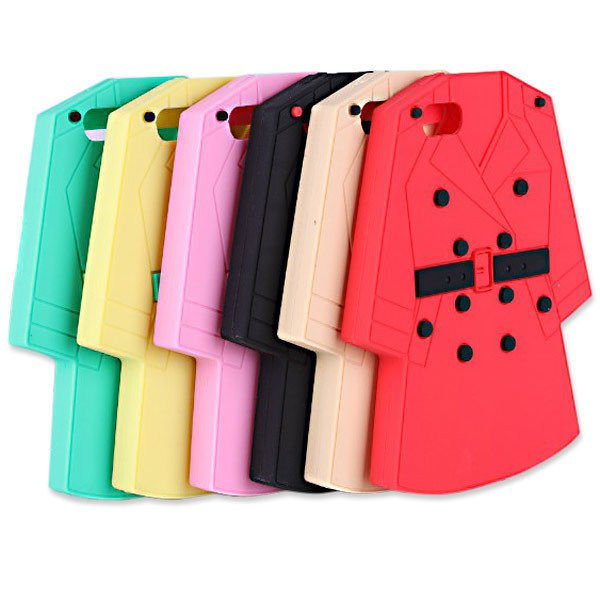 Wind Coat Shape Grain Pattern Silicon Case For iPhone 5 5S