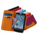 Wallet PU Leather Case Card For Samsung Galaxy S3 III i9300-Pink/Orange